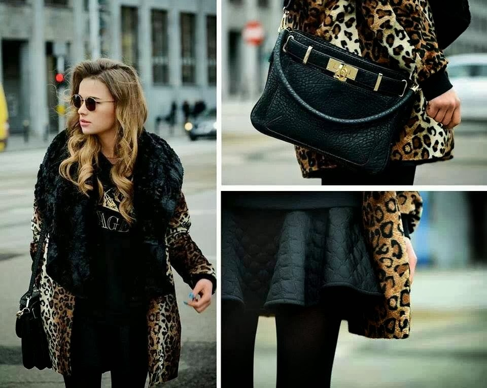 Leopard Coat with Leather Handbag for those who Love Dressing Fashionably