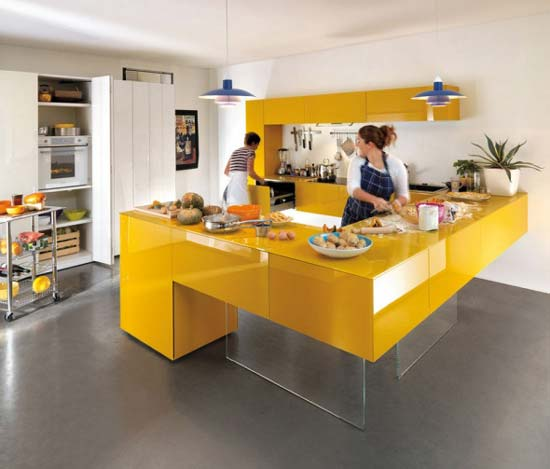 Top yellow kitchen cabinets prime home design top for Modern yellow kitchen cabinets