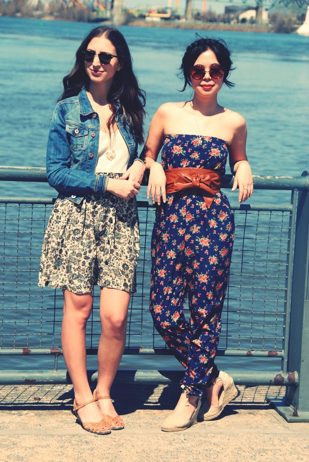 floral jumpsuit romper espadrilles round sunglasses beige sandals skirt jean jacket raybans