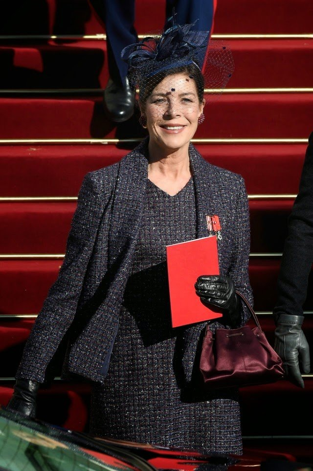 Princess Caroline of Hanover leaves the Cathedral of Monaco during the official ceremonies for the Monaco National Day at Cathedrale Notre-Dame-Immaculee de Monaco