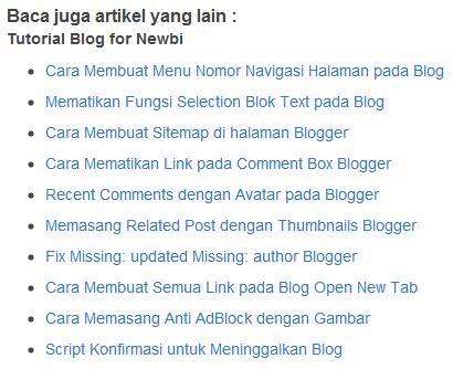 Cara Memasang Related Post pada Blog