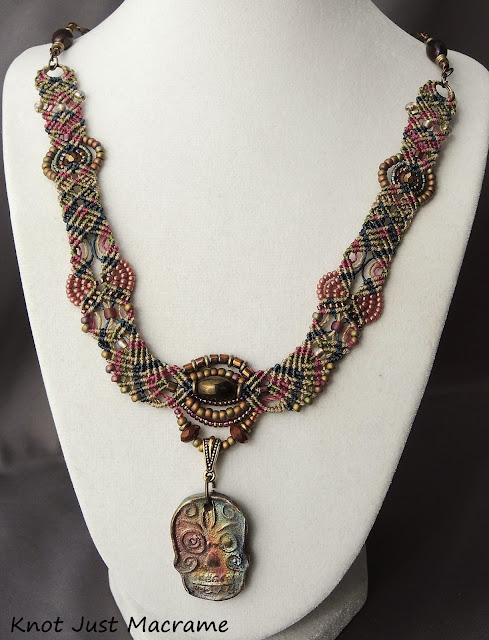 Sugar Skull Day of the Dead Micro Macrame Necklace by Sherri Stokey