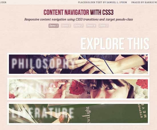 Responsive Content Navigator With CSS3