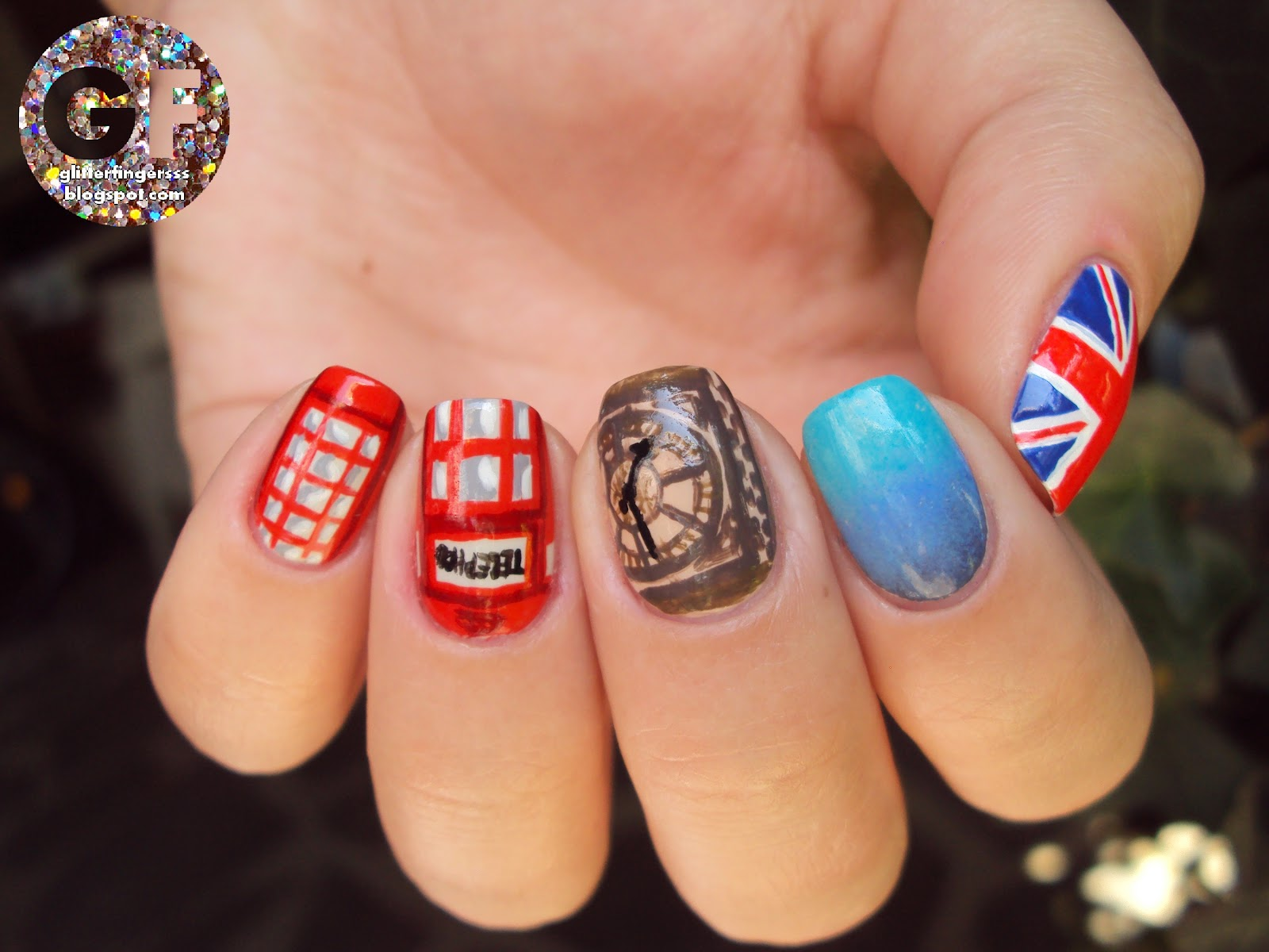 Nail art london glitterfingersss in english all of my nails were handpainted with nail polishes and black acrylic paint prinsesfo Gallery