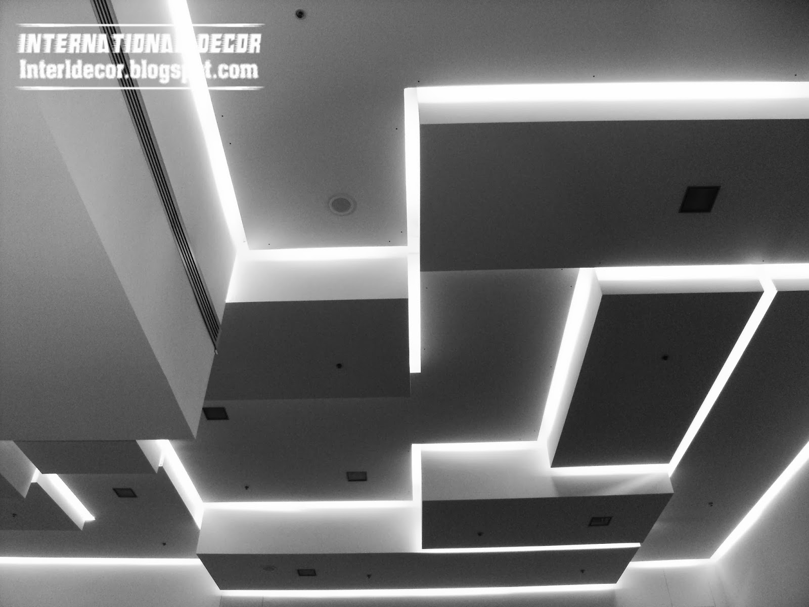 LED ceiling lighting ideas 2014, Drop ceiling pop design interior 2014