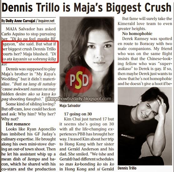 Dennis Trillo is Maja Salvador's biggest crush