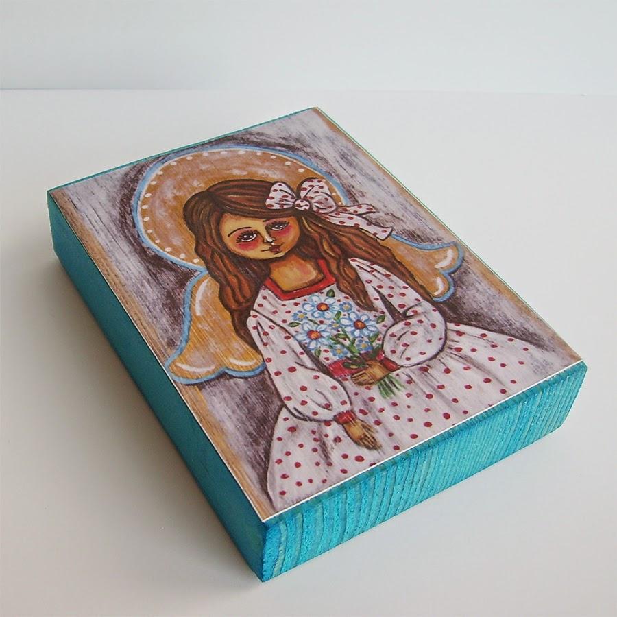 Drewniany obrazek obraz ilustracja dla dziewczynki dziecka kwiaty bukiet prezent upominek na gwiazdkę ozdoba dekoracja bożonarodzeniowa świąteczna Boże Narodzenie anioł aniołek dziecko pamiątka chrztu chrzest pierwsza komunia narodziny urodziny