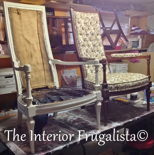 Vintage High Back Throne Arm Chair Makeover with wood frame painted in Old White chalk paint.