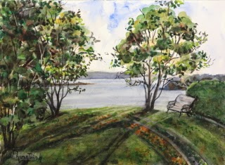 Beautiful New Zealand Landscape Watercolor Painting on paper Popular Classic Postcard or Pochade size 6 x 8 inches or 15 x 20 cm , USD $95 Ideal as gift, hanging on its own or in groups due to small size