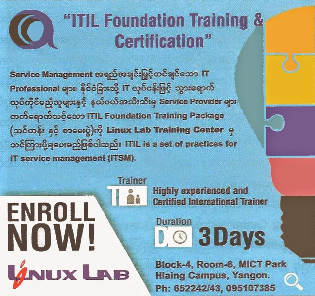 Linux Lab Co Ltd Myanmar Itil Foundation Training Class