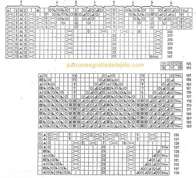 esquema dos agujas para tejer mantel