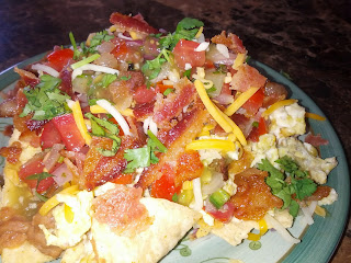 nachos, hangover food, breakfast nachos, bacon, eggs, mexican breakfast