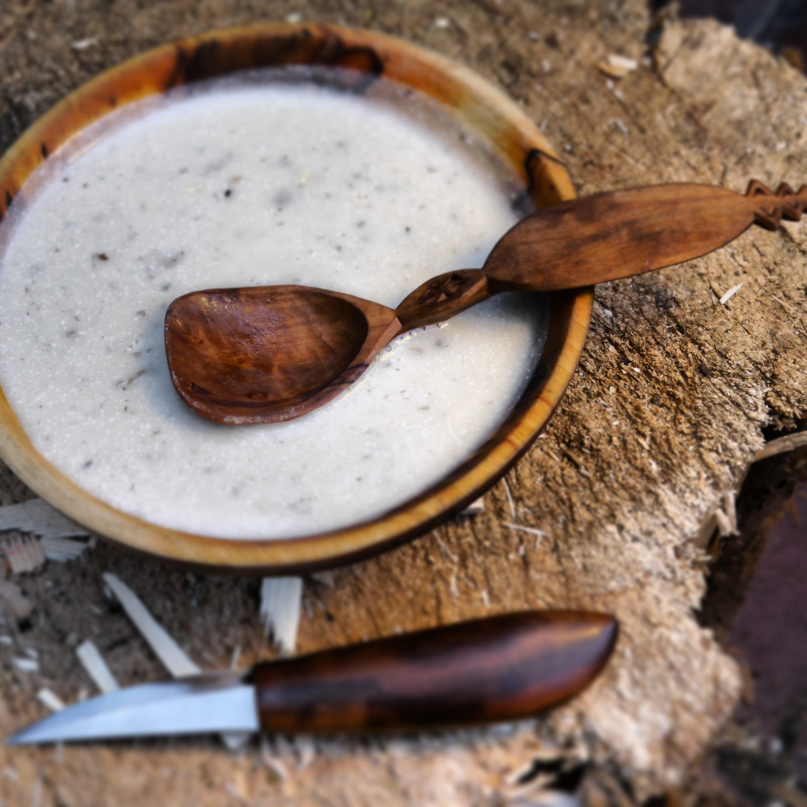 Spoon carving first steps drawing with an axe
