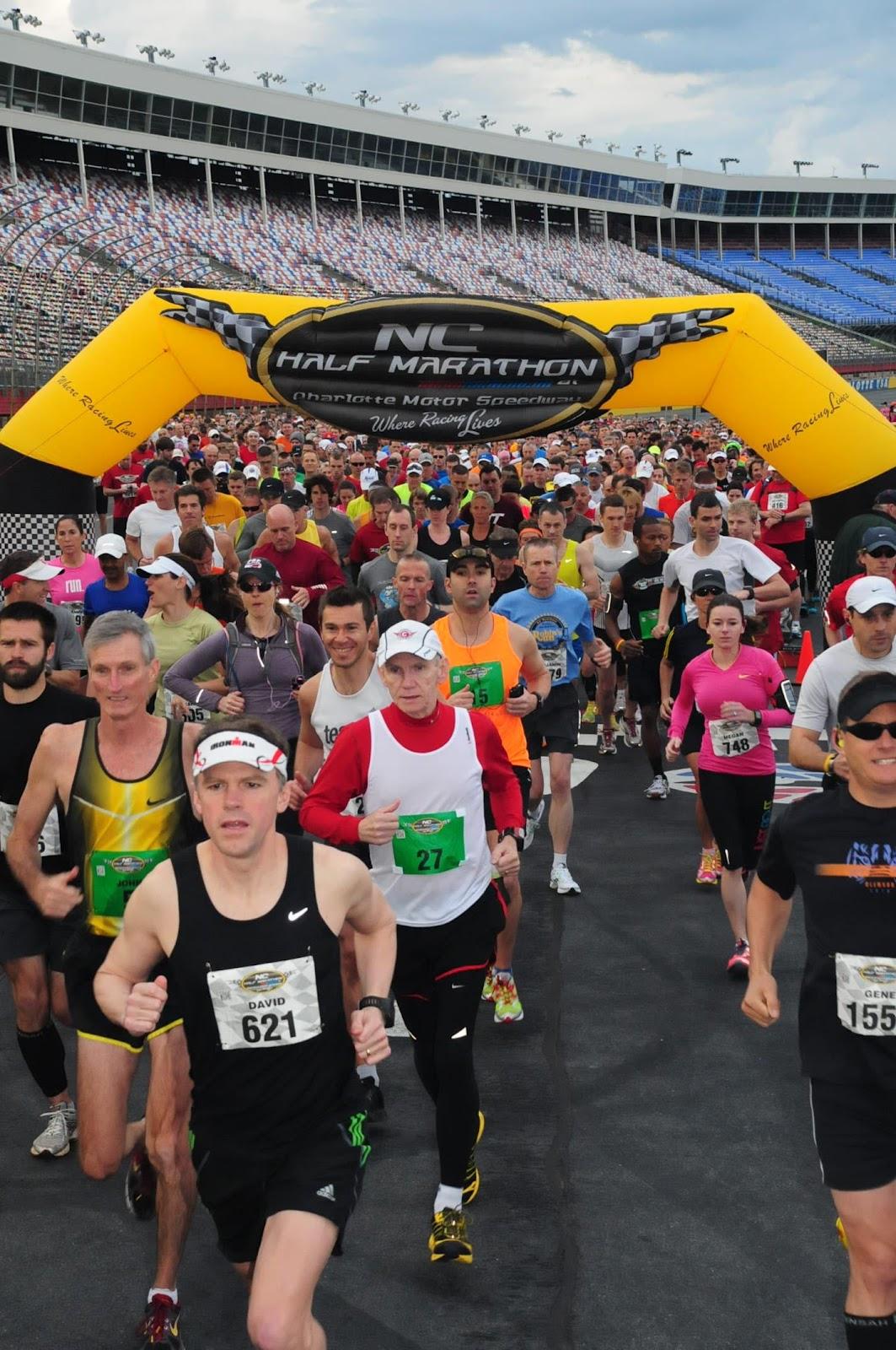 race 168 nc half marathon at charlotte motor speedway