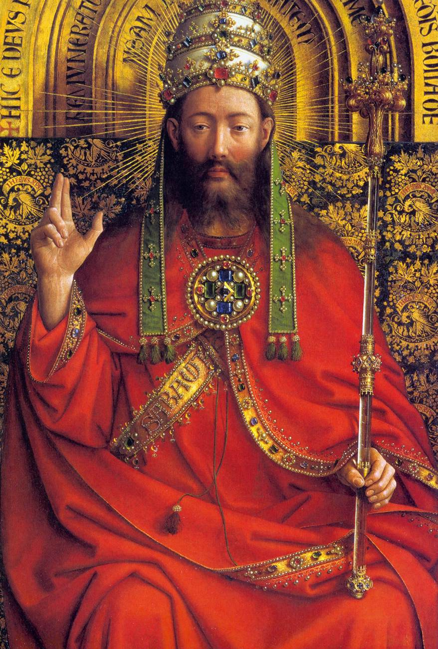"jan van eyck Jan van eyck, ghent altarpiece (closed), completed 1432, oil on wood, 11' 5"" x 7' 6"" (saint bavo cathedral, ghent, belgium) when he wrote that statement, i."