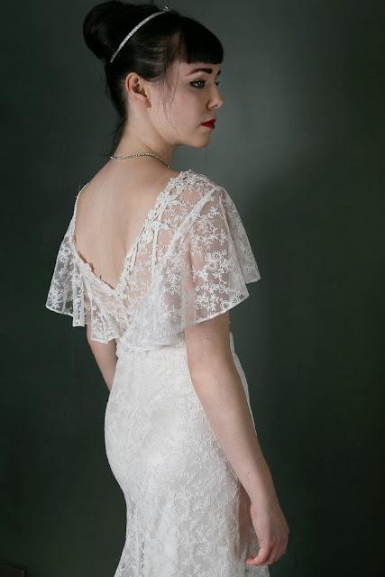 "1930s Vintage Wedding Dress ""ANGEL"" by Heavenly Vintage Brides, fluttery sleeves"