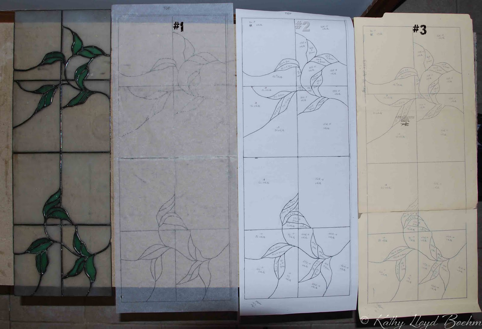 Kitchen Cabinets Stained Glass Patterns -  see 2 from the paper copy i used carbon paper to trace it onto manila folders see 3 which then becomes the pattern used to cut the glass