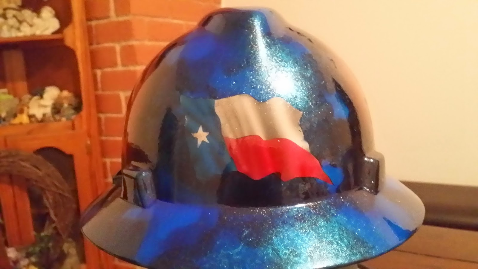 Lone Star texas flag custom hard hat flash off