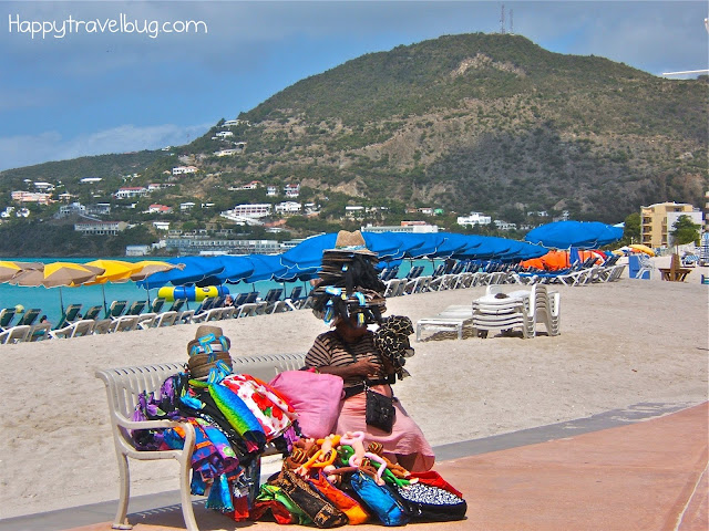 Lady with her wares in St. Maarten