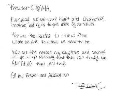 Carta de apoio de Beyoncé, publicada na rede social da cantora (Foto: Reprodução)