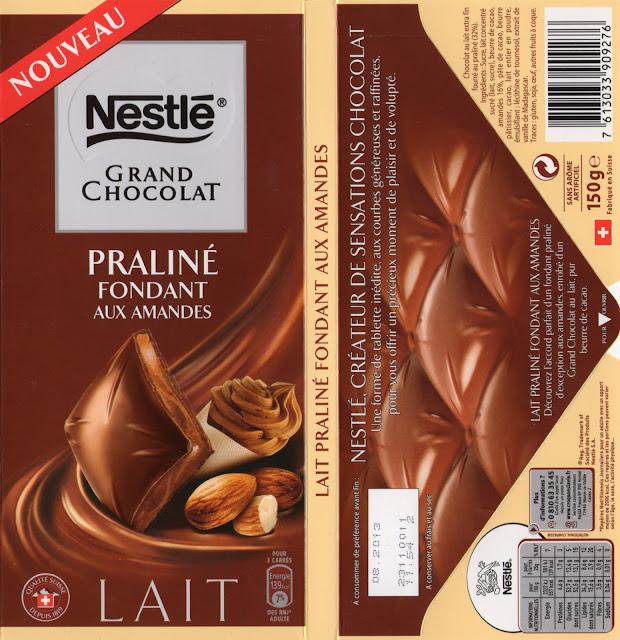 tablette de chocolat lait gourmand nestlé grand chocolat praliné fondant aux amandes