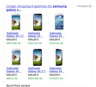 Google Shopping Galaxy S4