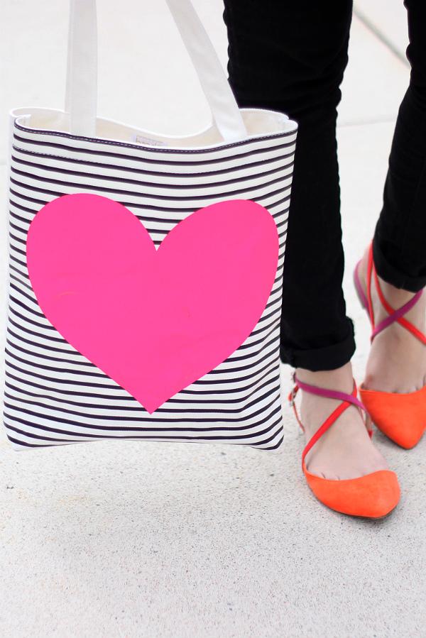 Ban.do Heart Tote, Black and White Striped Tote, Zara Colorful Flats