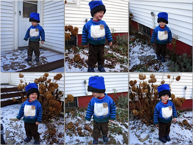 grandson in the snow