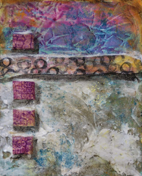 abstract collage painting with acrylic encaustic effects