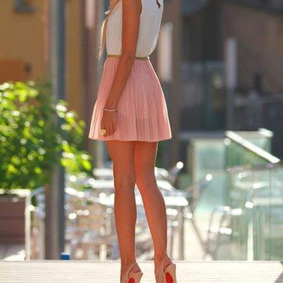 Short Dress in Pink & White Combination