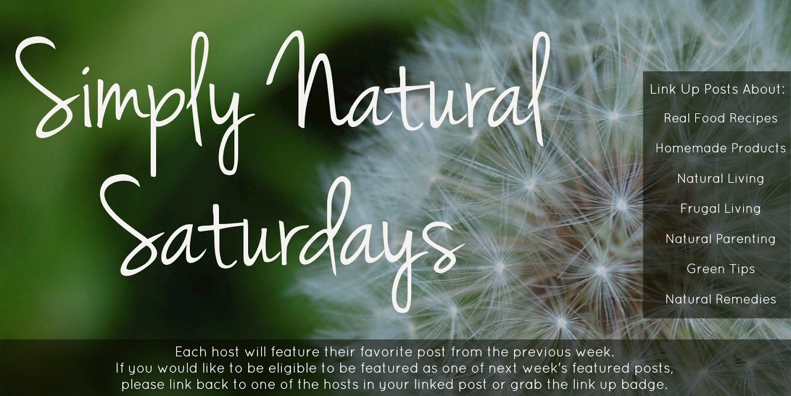 Simply Natural Saturdays: 9/8/12