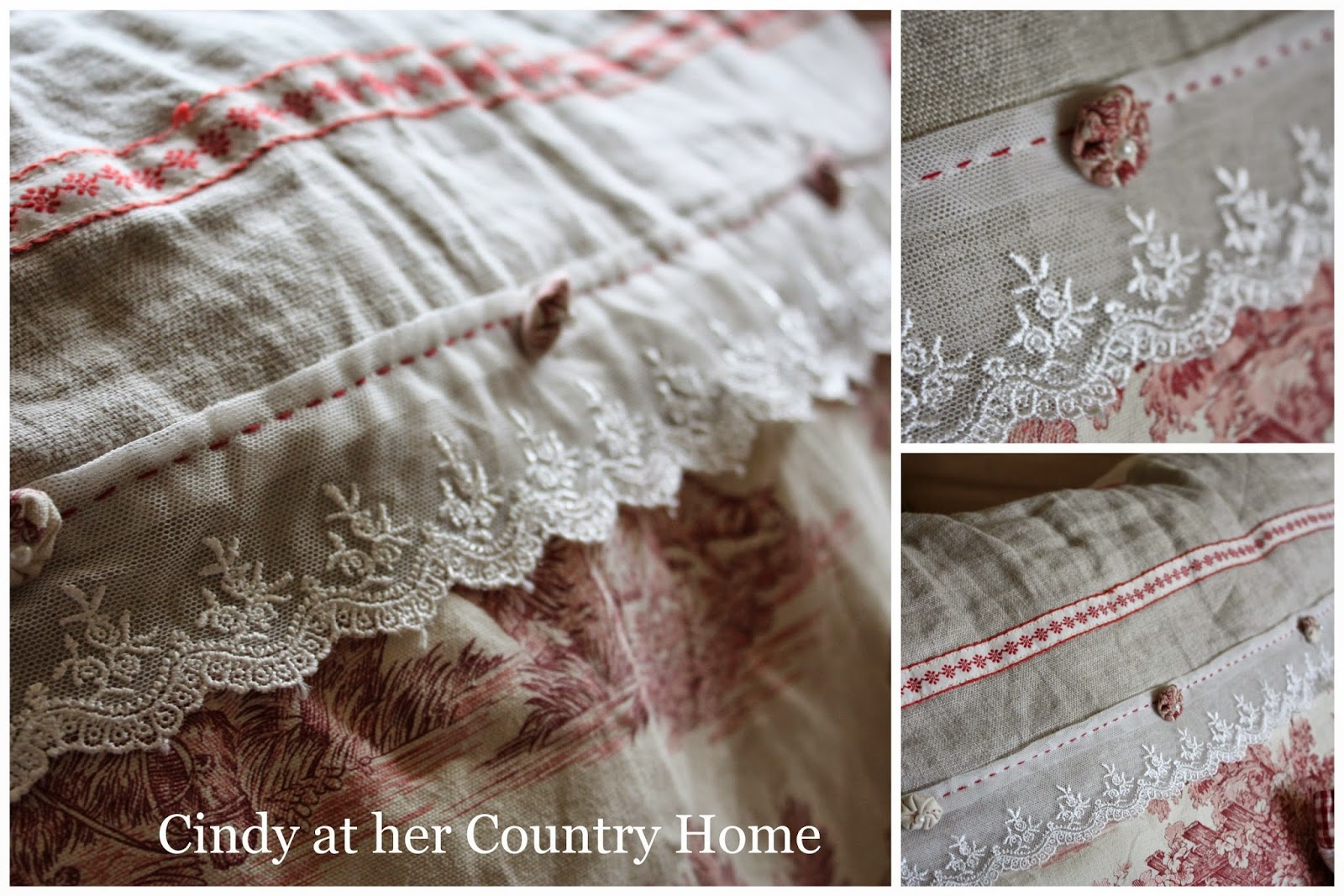 cindy at her country home my embroidered pottery sampler and toile de jouy. Black Bedroom Furniture Sets. Home Design Ideas