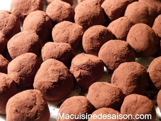Truffes au chocolat et noisette