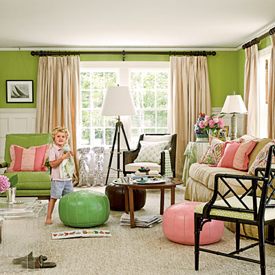 Preppy pink and green home d cor driven by decor for Red and lime green living room
