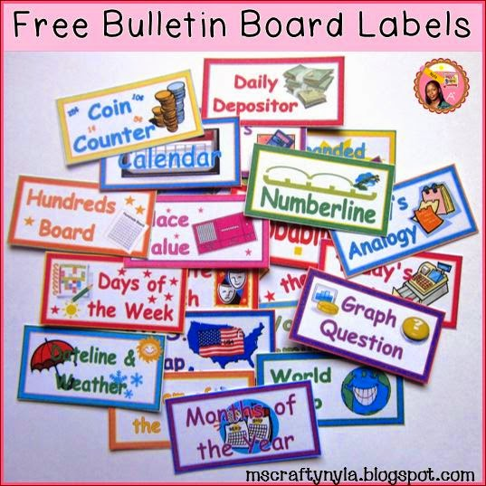 Free Classroom Labels for Bulletin board centers