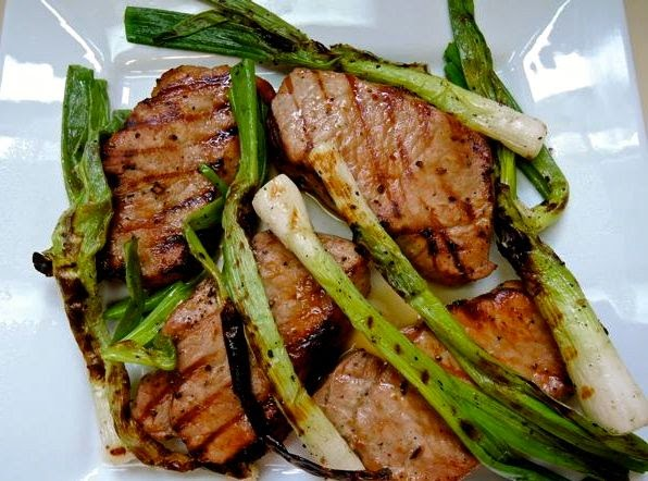 cambodian grilled pork chops and scallions