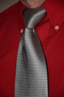Silver Woven Grid Tie