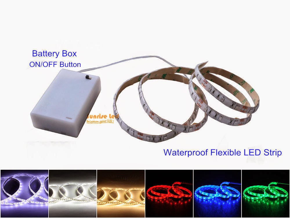 Led Strip Light With Battery Box Waterproof Bright Motor Fishing Bicycle Bright