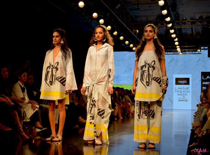 Masaba Gupta showcases her range of equestrian inspired prints at Lakme Fashion Week Winter Festive 2015 at the St. Regis Hotel