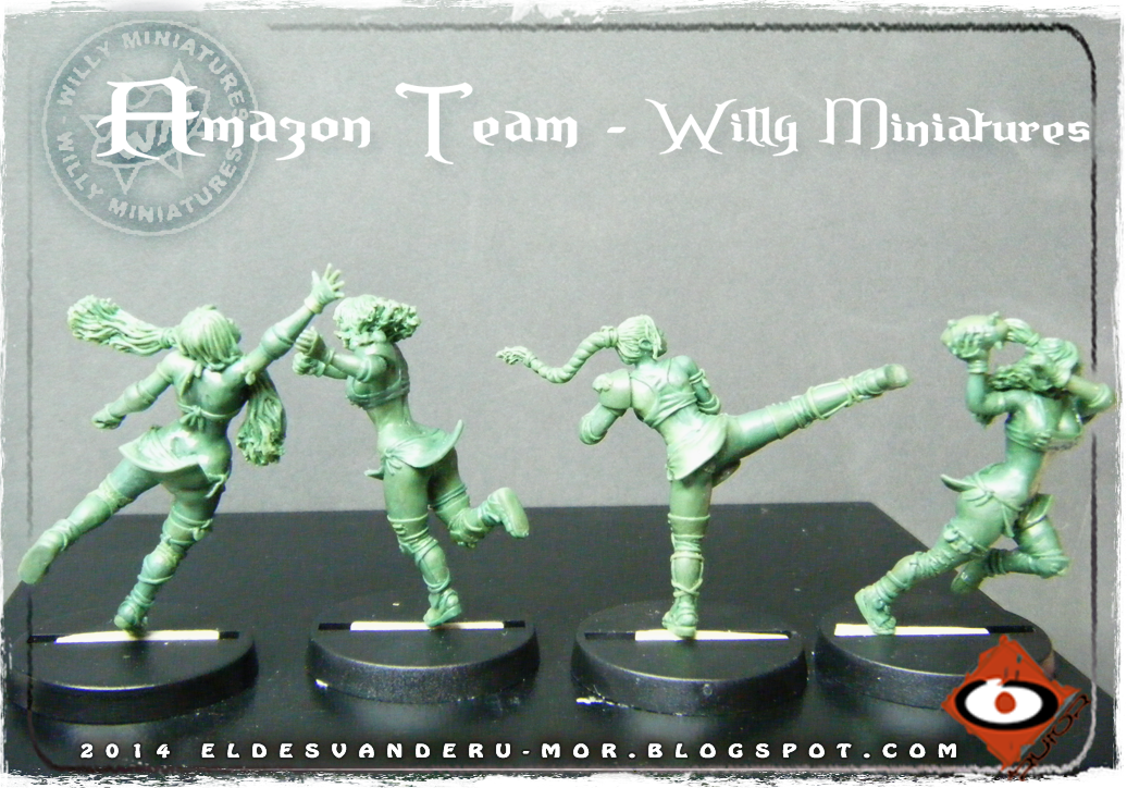 Foto de varias miniaturas del Equipo Blood Bowl de Amazonas de WILLY Miniatures hechas por ªRU-MOR. Catcher, thrower and linewoman, fantasy football