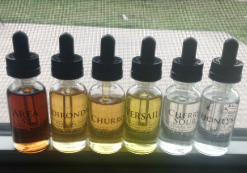 different flavored vaping liquids