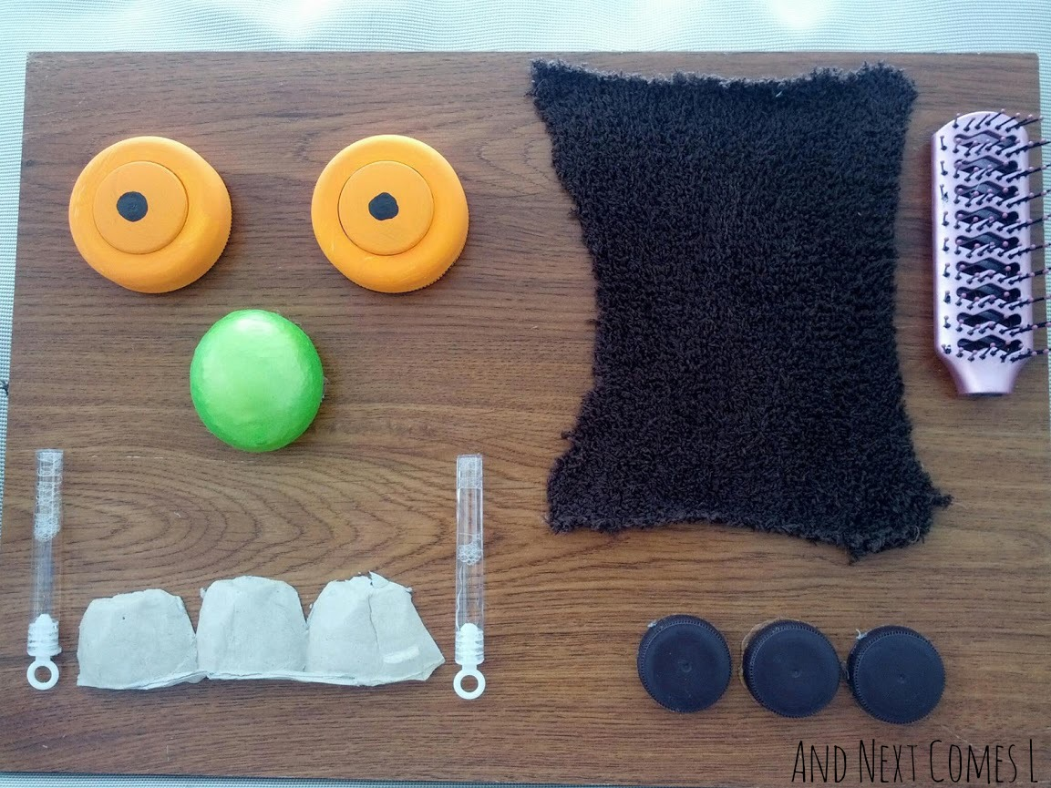 Gruffalo inspired sensory board for kids made for $5 from And Next Comes L