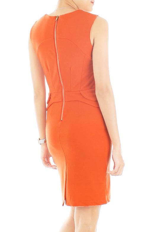 Sculpted Dream Peplum Dress – Atomic Orange