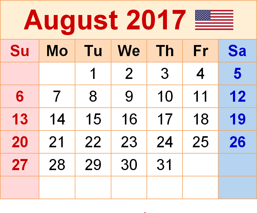 August 2017 Printable Calendar August 2017 Blank