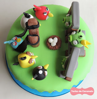 Tarta de los Angry Birds: vista aerea