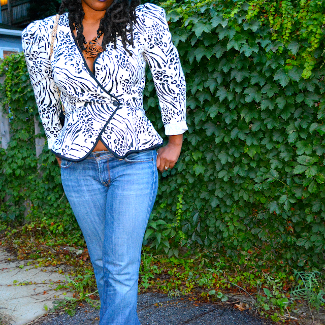 80s animal print blazer worn with jeans