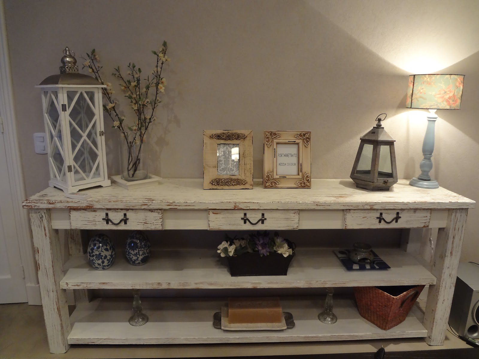 Shabby moderno mesa de arrime blanca con madera natural for Mesa blanca y madera