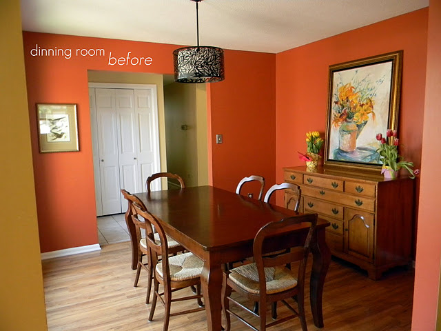 Here Is The Dining Room Day We Moved In I Have Since That Painting To Our Fireplace Painted Buffet Changed Light And Wall