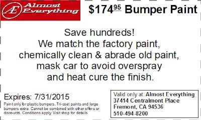 Discount Coupon $174.95 Bumper Paint Sale July 2015