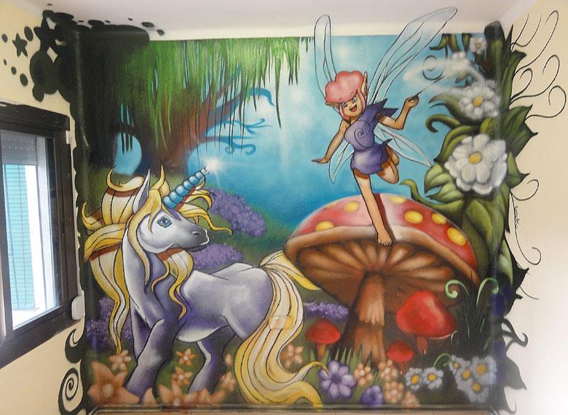 Berok graffiti mural profesional en barcelona mural - Dibujos para paredes de bebes ...